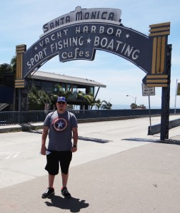 Cameron at Santa Monica Pier Sign