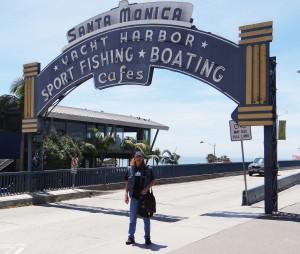 Dan at Santa Monica Pier sign